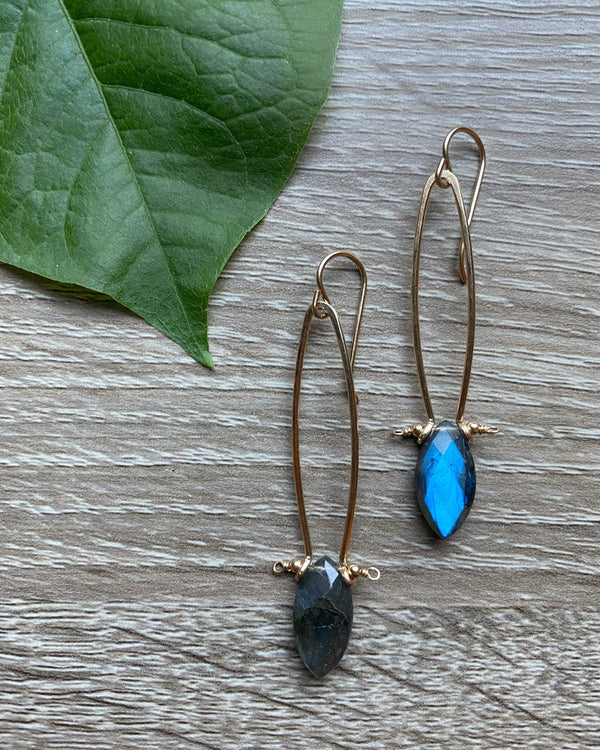 • MOD FRAME • labradorite gold earrings