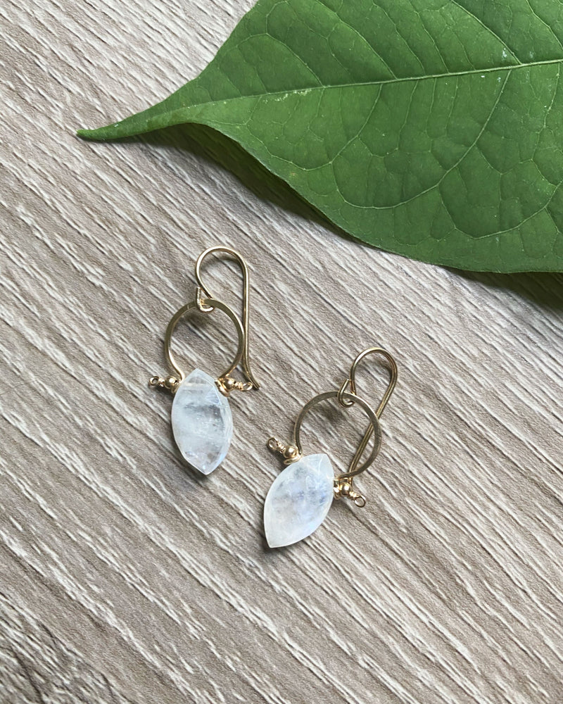• FRAME • rainbow moonstone gold earrings