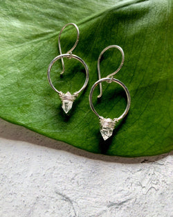 • HOOP • herkimer sterling silver earrings