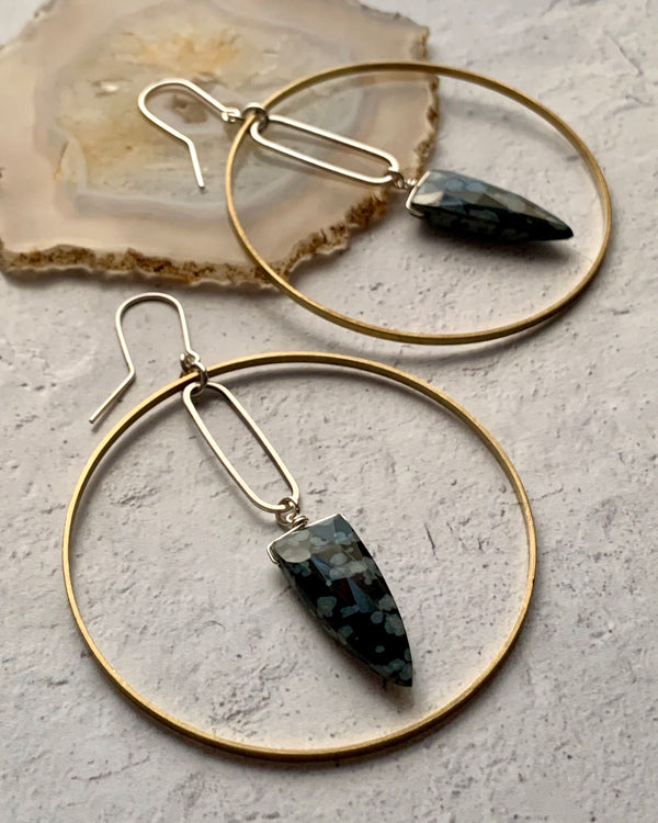 • MERIDIAN •  obsidian mixed metal hoop earrings
