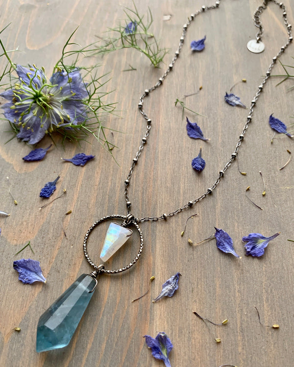 "• LUNA • 16""-18"" rainbow moonstone + flourite silver necklace"