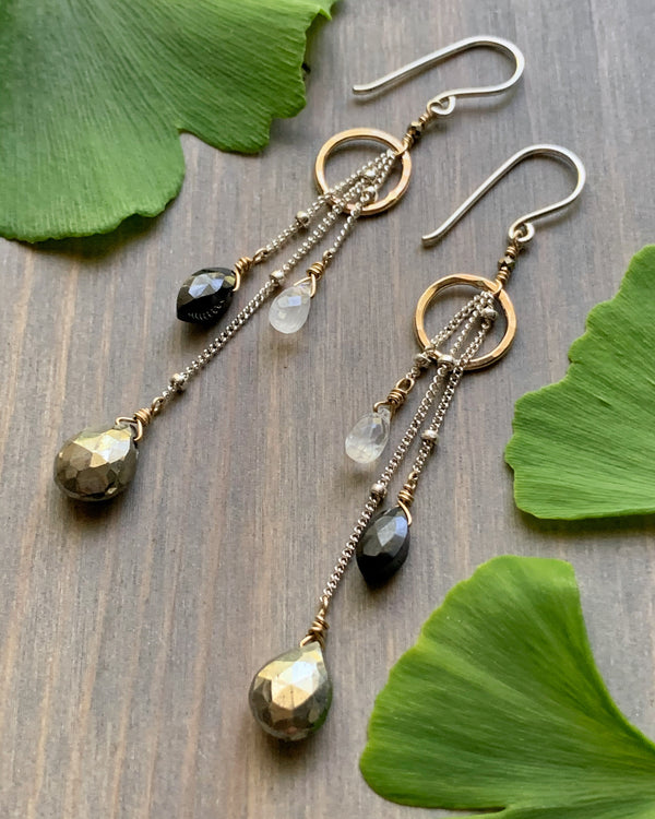 • ACHROMATIC • multi gemstone + mixed metal earrings
