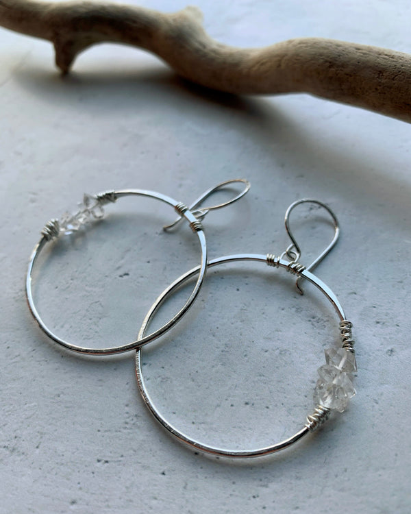 • GEMINI HOOP • herkimer sterling silver earrings