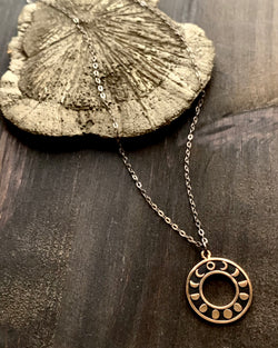 • MOON PHASE CIRCLE •  mixed metal necklace