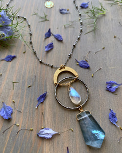 "• NYX • 16""-18"" rainbow moonstone + flourite mixed metal necklace"