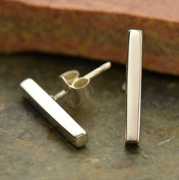 • BAR POST • silver stud earrings