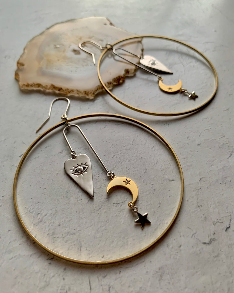 • GUIDED BY LOVE •  mixed metal large hoop earrings