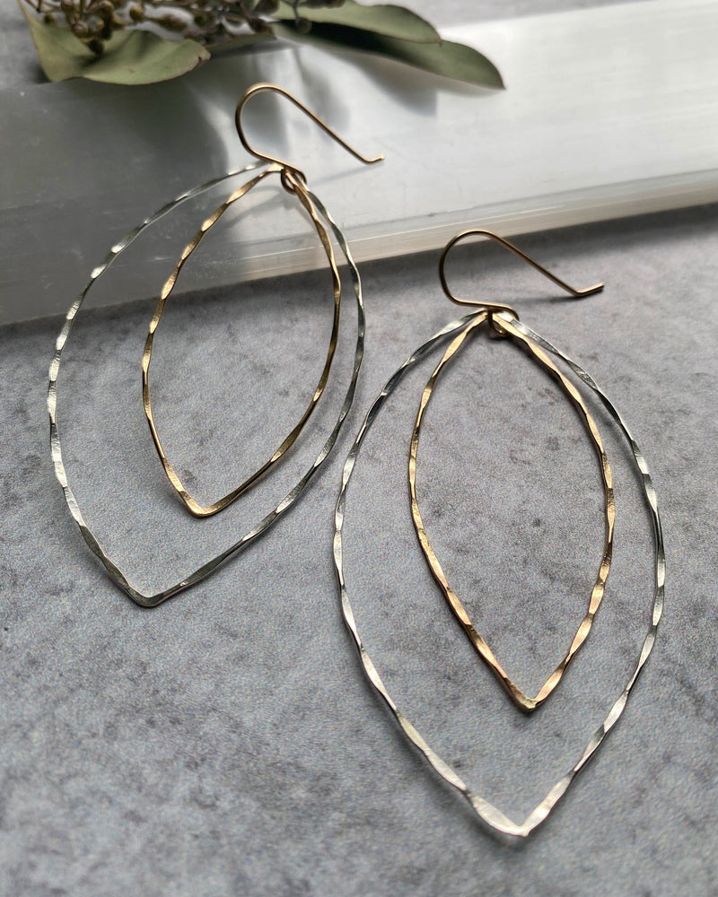 • HAMMERED MARQUISE • mixed metal earrings