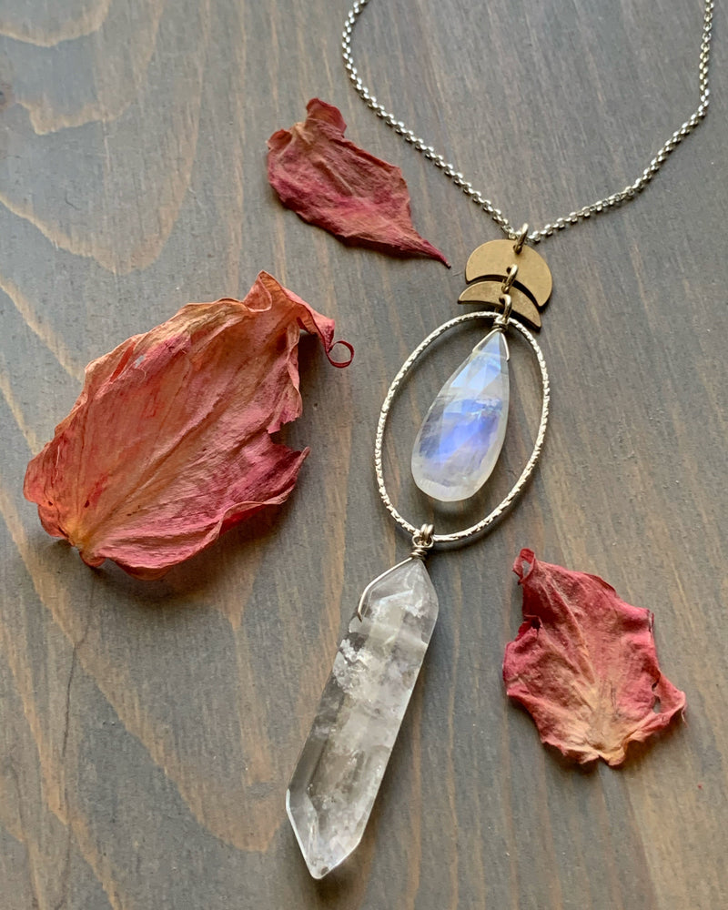 "• NYX • 28""-30"" rainbow moonstone + quartz mixed metal necklace"