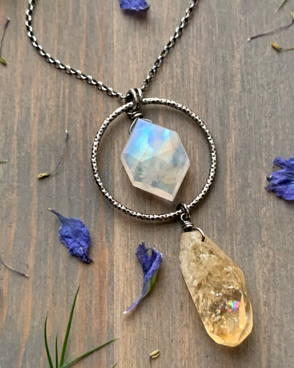 "• LUNA • 18""-20"" rainbow moonstone + citrine silver necklace"