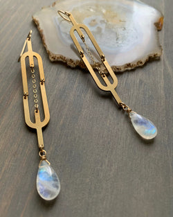 • STRINGS ATTACHED • rainbow moonstone gold earrings