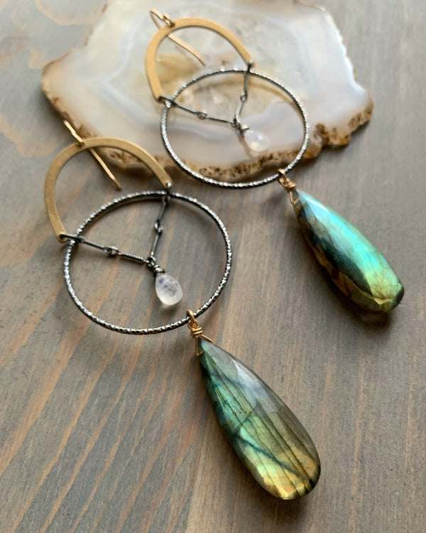 • UNDER THE RAINBOW • labradorite + moonstone mixed metal earrings