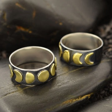 • MOON PHASES • silver & bronze wide band ring