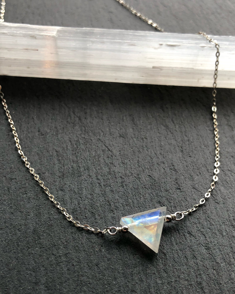 • AEON • rainbow moonstone + silver necklace