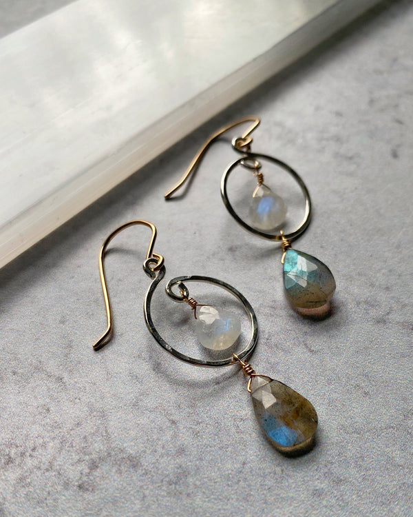 • SWOOP HOOP • labradorite + moonstone mixed metal earrings