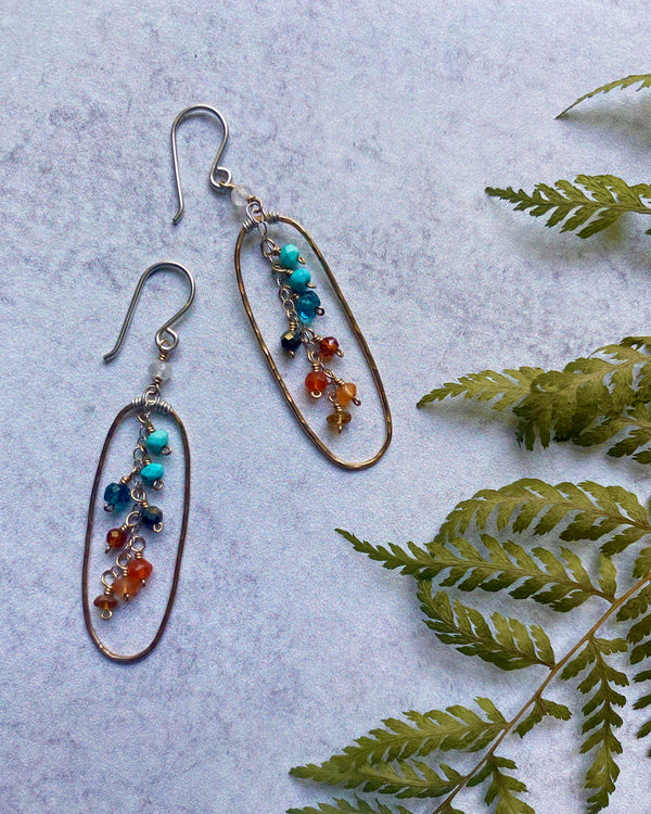 • FOX • multi gemstone + 14KGF earrings