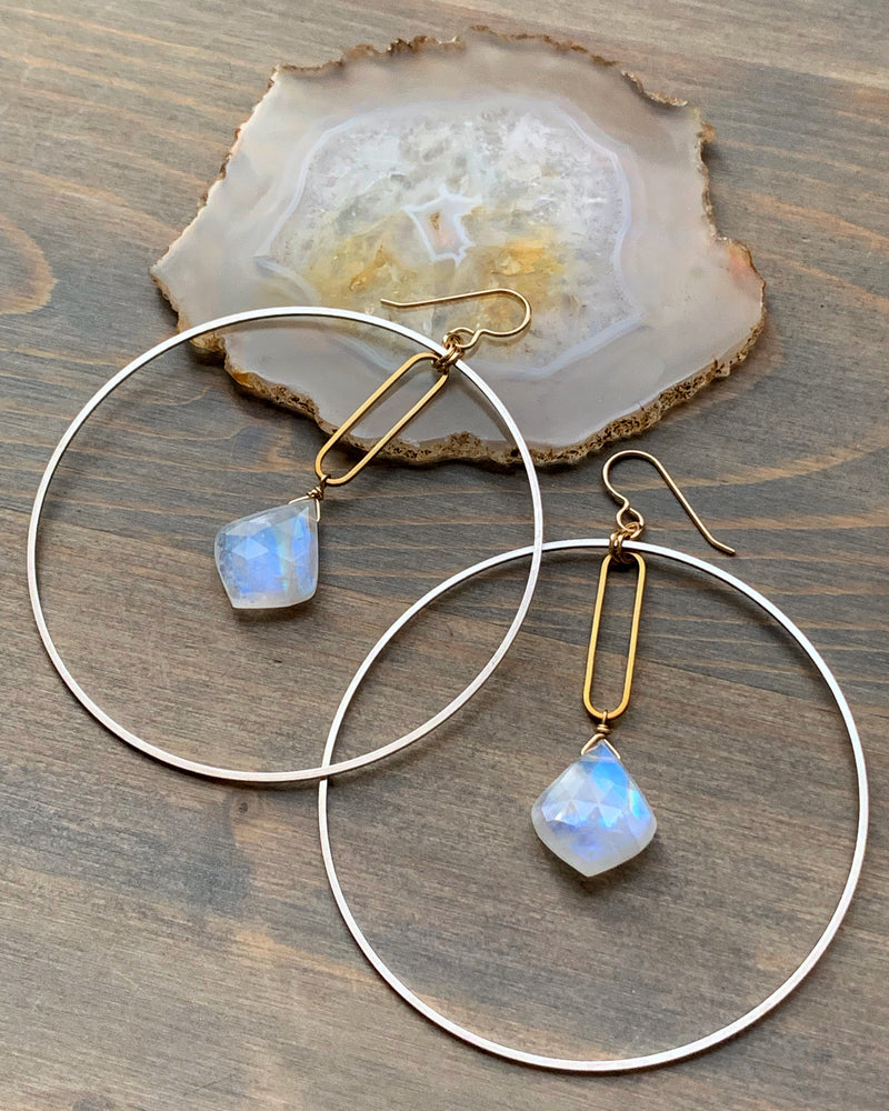 • MERIDIAN • rainbow moonstone hoop earrings