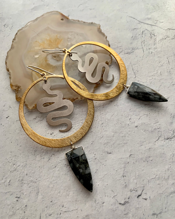 • SNAKE WISE •  medium obsidian mixed metal hoop earrings