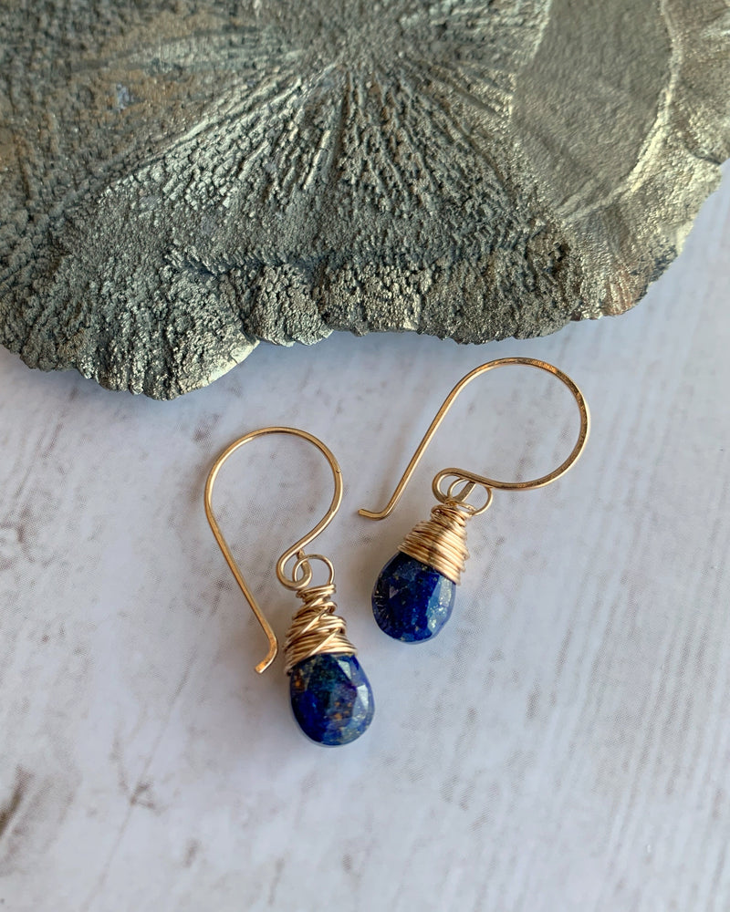 • SWEETCAKES • lapis gold earrings