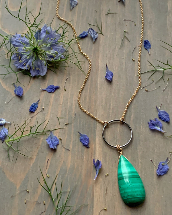 "• LUNA • 16""-18"" malachite mixed metal necklace"
