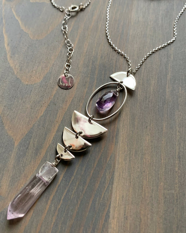"• NYX • 28""-30"" kunzite, amethyst + sterling silver necklace"