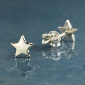 • FLAT STAR • silver stud earrings
