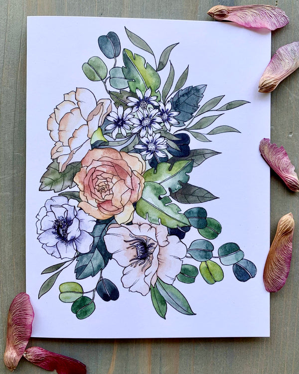 • FLOWER BOUQUET • medium note card