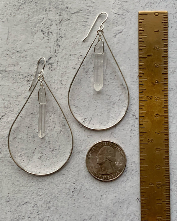 • CRYSTAL POINT • QUARTZ SILVER EARRINGS