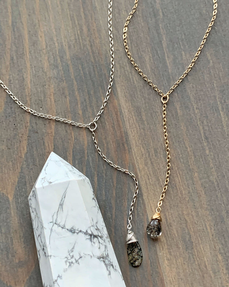 • STRAY • tourmalinated quartz + silver Y necklace