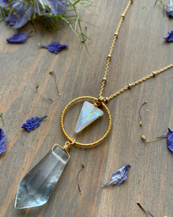 "• LUNA • 16""-18"" rainbow moonstone + flourite gold necklace"