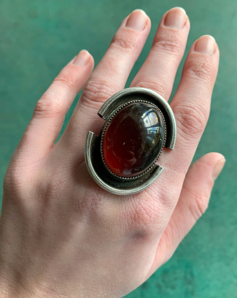 • SPARTAN • amber + silver ring