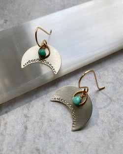 • NAVAJO MOON • turquoise + mixed metal earrings