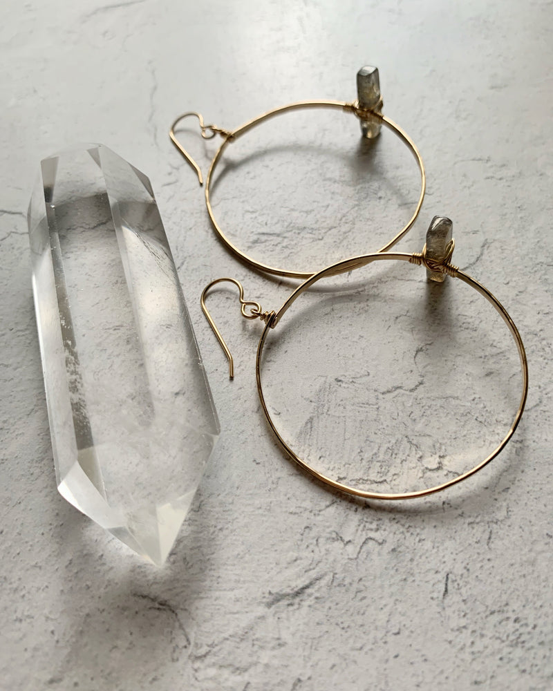• ZELDA • SILVER OR GOLD LABRADORITE HOOP EARRINGS