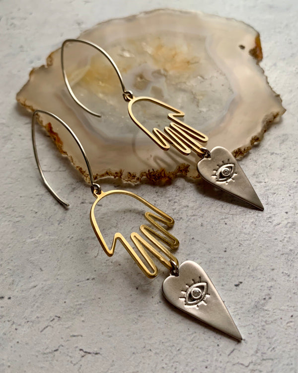 • GUIDED •  mixed metal earrings
