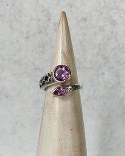 • STAR GAZER • amethyst adjustable sterling silver ring