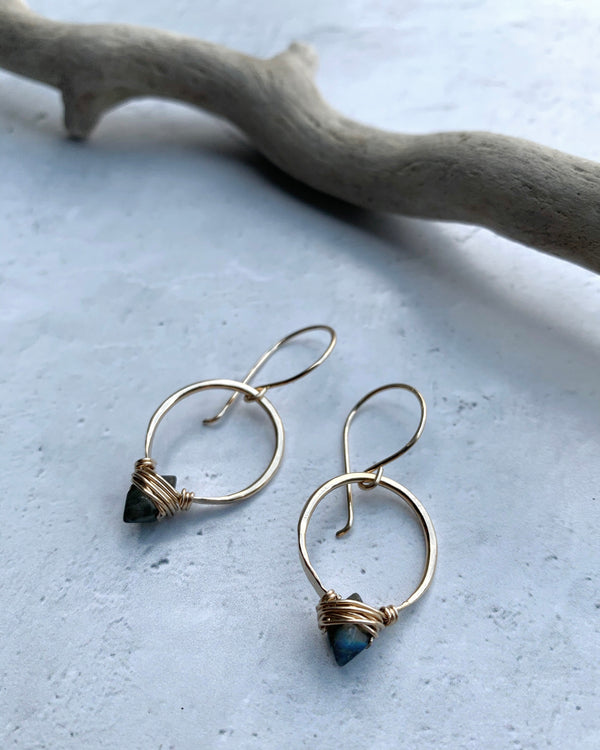 • PIKE HOOP • labradorite gold earrings