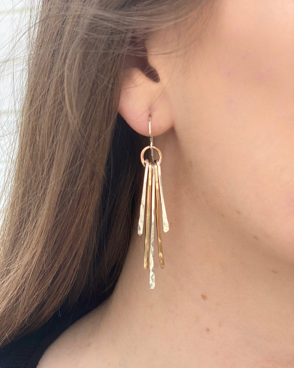 • HERITAGE FRINGE • mixed metal earrings