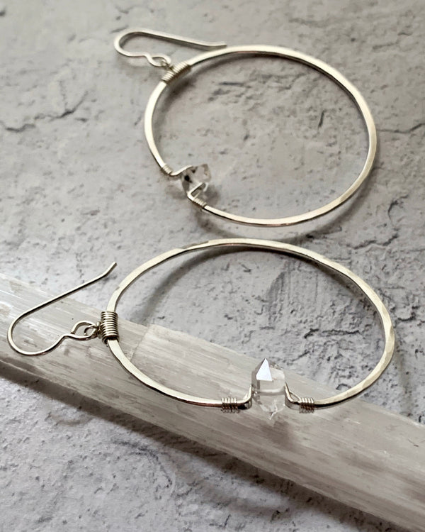 • ZENON • SILVER OR GOLD HERKIMER HOOP EARRINGS
