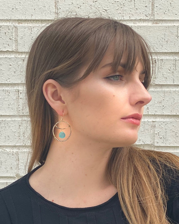 • SUNDANCER HOOPS • chalcedony + mixed metal earrings