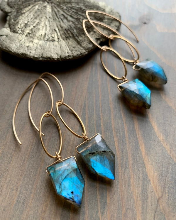 • IO • labradorite gold dangle earrings