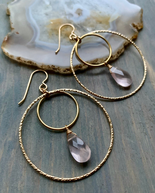 • DOUBLE ECLIPSE • rose quartz + gold hoop earrings