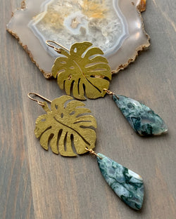 • MEDIUM MONSTERA • moss agate mixed metal earrings