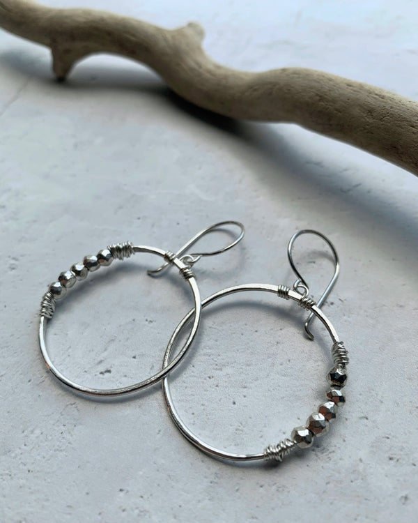 • ARGONAUT HOOP • pyrite sterling silver earrings