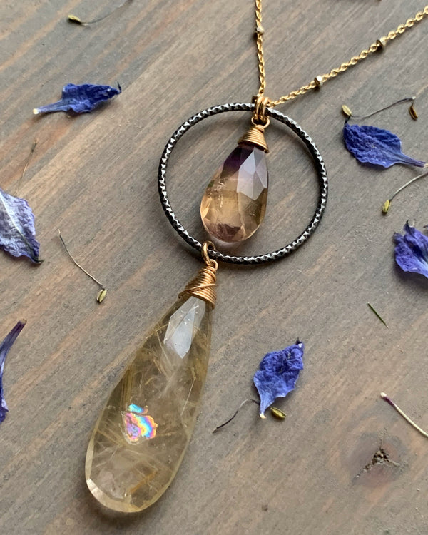 "• LUNA • 16""-18"" rutilated quartz + ametrine mixed metal necklace"