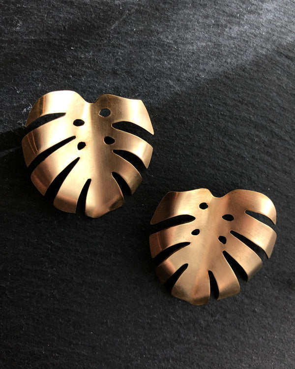 • MONSTERA • brass post earrings
