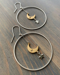 • EVENING STAR'S KISS •  mixed metal hoop earrings
