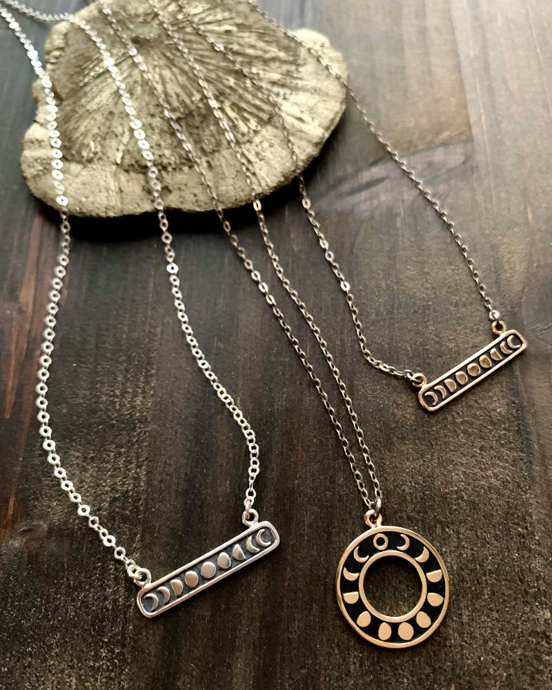 • MOON PHASE BAR •  silver necklace
