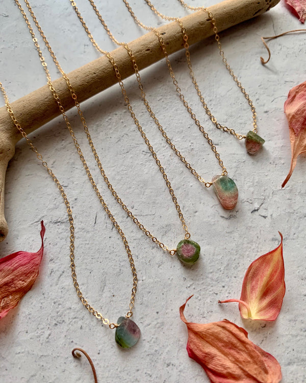 - STRAY - tiny watermelon tourmaline + gold necklace (LIMITED)