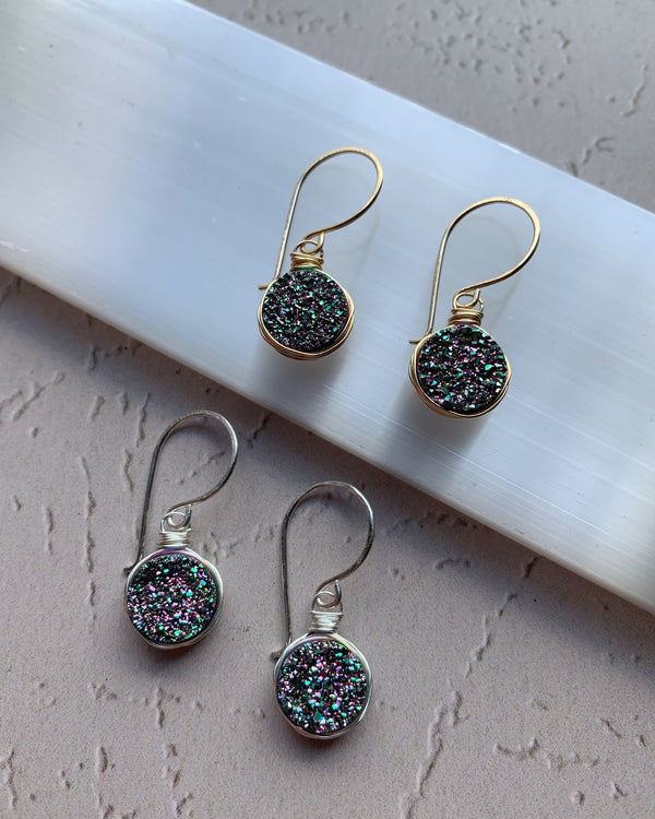 • LUSTER • silver or gold rainbow druzy earrings