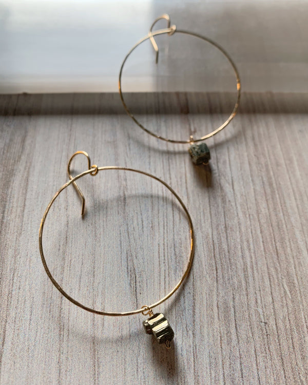 • HOOPS • large pyrite + gold earrings